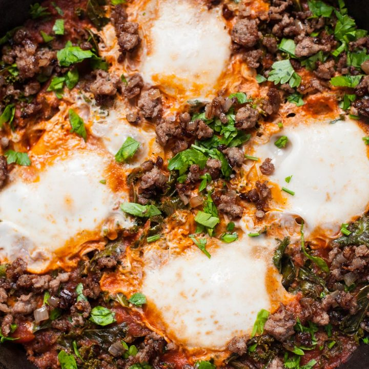 Eggs in Purgatory with Sausage and Kale