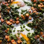 Sheet Pan Baked Eggs with Sweet Potatoes, Kale, & Cilantro-Pepita Pesto (Paleo, Whole30)