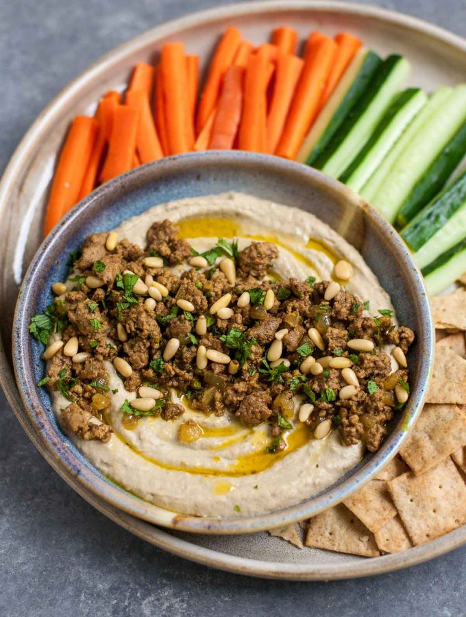 Baba Ganoush with Spiced Lamb & Mint