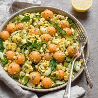 Cantaloupe, Corn, and Zucchini Salad with Lemony Pesto